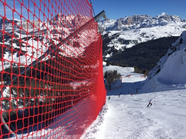 Ski slope and safety nets