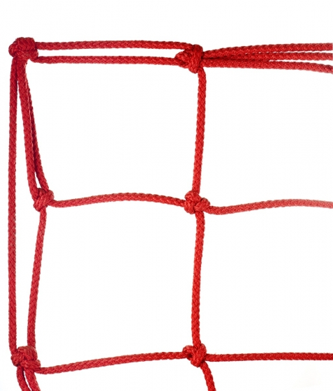 Polyester climbing net, hand knotted