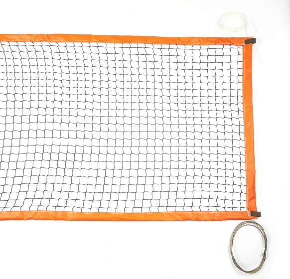 Beach tennis net with PVC bands