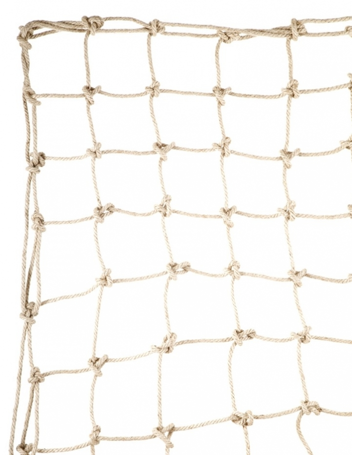 Climbing net with natural rope, hand knotted